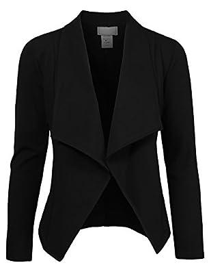 NE PEOPLE Women's Lightweight Open Front Draped Tuxedo Blazer Jacket