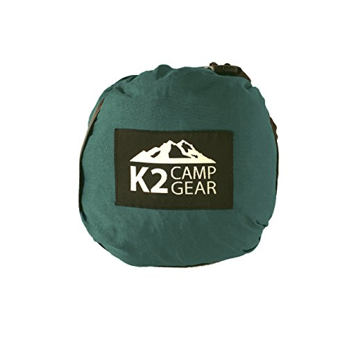K2 Camp Gear – Double Camping Hammock – Premium Lightweight Aluminum Carabiners Included – Best Equipment for Hiking, Outdoors, Backpacking (Dark Green/Black)