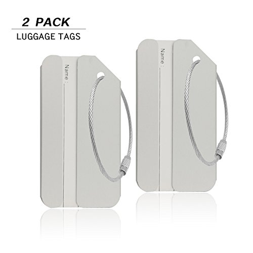 Aluminum Luggage Tag for Luggage Baggage Travel Identifier By CPACC (Silver 2PCS)