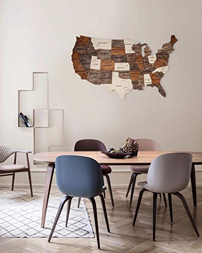 3D wood Map Of United States Wooden Wall Art Wooden Map Dorm Decor Map of USA Handing Husband Boyfriend Gift 3D Wall Map Wedding Gift For Couple (States Map Wall Wooden United Art)