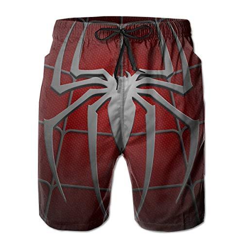 Spiderman Mens Swim Trunks Summer Quick Dry Board Shorts Elastic Waist Swimwear Bathing Suit with Mesh Lining/Side Pockets White