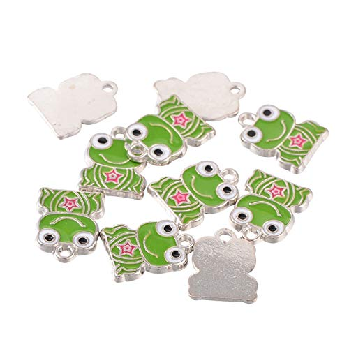 Enamel Frog Charm - PH PandaHall About 200 Pieces Platinum Plated Frog Alloy Enamel Pendant Charms for Necklaces Bracelets Jewelry Making