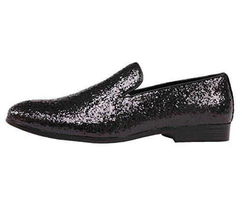 Amali Heren Metallic Sprankelend Glitter Tuxedo Slip Op Rokende Slipper Jurk Schoen Zwart