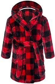 WYTbaby Kids Hooded Bathrobe Boys Girls Fleece Dressing Gown Unisex Pajamas Sleepwear