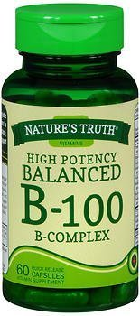 Nature's Truth High Potency Balanced B-100 B- Complex Quick Release Capsules - 60 ct