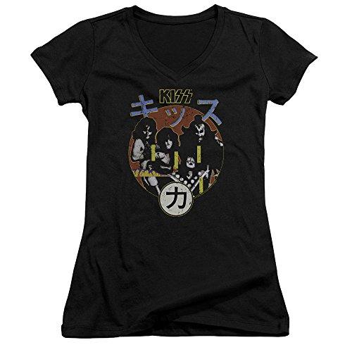 Kiss Cap Sleeve T-shirt - ROCK Kiss Hotter Cover Juniors V-Neck Cap Sleeve T-Shirt - Medium