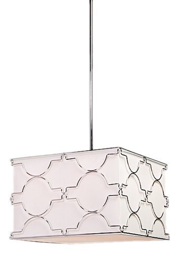 Artcraft Lighting Morocco 4-Light Square Light Fixture, Chrome with White Linen Shade