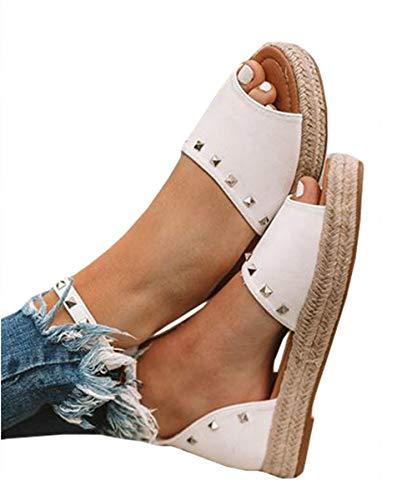 Liyuandian Women's Flatform Sandals Espadrille Open Toe Rivet Platform Boho Ankle Strap Shoes
