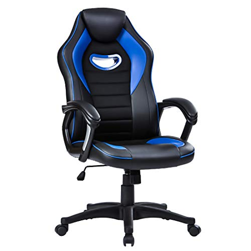 LIANFENG Racing Style High Back Leather Gaming Office Chair, Ergonomic Swivel Computer Desk Chair with Headrest and Armrest for Home and Office, Blue