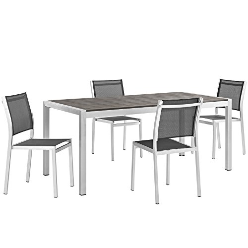Modway Shore 5-Piece Aluminum Outdoor Patio Dining Table Set in Silver Black Review
