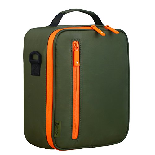 KOSOX Collapsible Multi-Layers Thermal Insulated Oxford Lunch Tote Waterproof Cooler Bag Unisex Lunchbox with Shoulder Strap (Green)