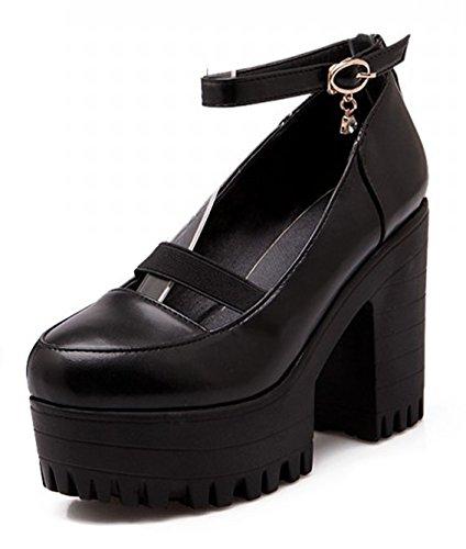 Noir Plateforme Talon Aisun Haut Femme Escarpins Mode Bloc w61Uz7q