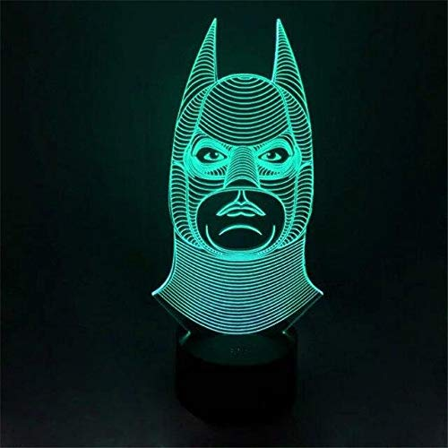 Novelty Batman Joker Smile Double Face 3D Illusion Bulb Lamp LED Night Light USB Table Desk Lamps 3D Night Light, 3D Lamps 7 Color Change Visual Gift for Kids Home Decor