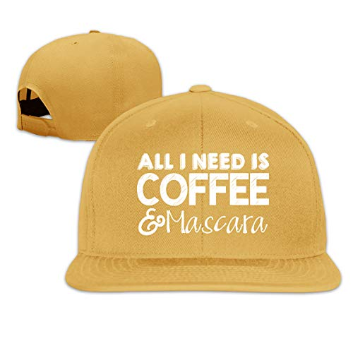 - Unisex Fashion All I Need is Coffee and Mascara Baseball Caps Buckle Design Adjustable Trucker Hat Yellow
