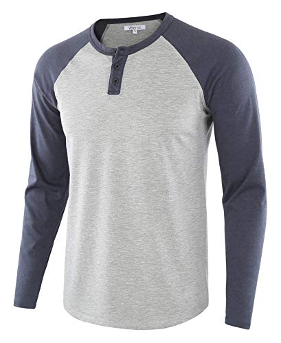 (Vetemin Men's Casual Vintage Long Sleeve Raglan Henley Shirts Baseball T-Shirt H.Gray/C.Blue S)