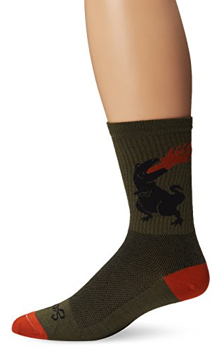 Sock Guy Wool Bike Sock - SockGuy Men's Dinosaur Wool Socks, Olive, Sock Size:10-13/Shoe Size: 6-12