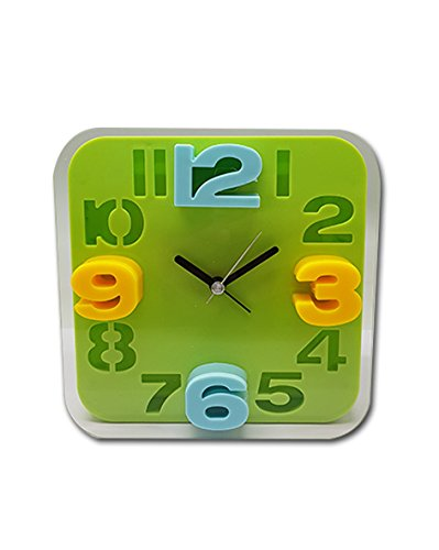 9d50b9d4d Buy Tuelip Square Shape Analog Table and Wall Alarm Clock Green Online at  Low Prices in India - Amazon.in