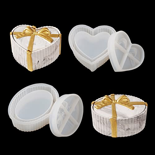 LET'S RESIN Gift Boxes Silicone Molds, 2PCS Jewerly Boxes Molds Includ Heart Shape Silicone Resin Molds, Oval Epoxy Molds