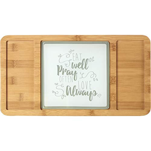 Precious Moments Bountiful Blessings Eat Well Pray Often Love Always Bamboo Cheeseboard/Serving Tray with Glass Insert 15.5 x 8.5 inches 182426 -