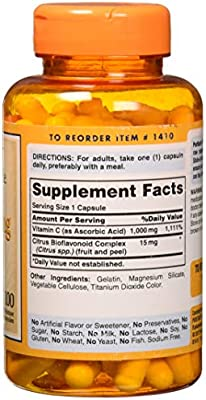 Puritans Pride Vitamin C-1000 Mg with Bioflavonoids Capsules, 100 Count
