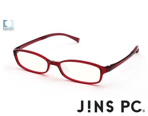 【JINS PC スクエア クリアレンズ】PC(ディスプレイ)専用メガネ (度なし) (RED)