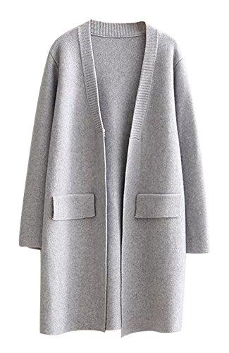 Anatoky de la mujer de punto Cardigan Sweater abrigos #0526_Grey