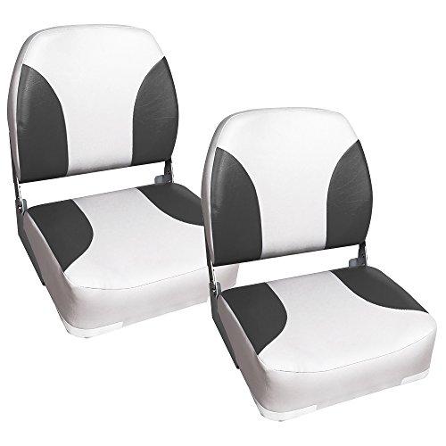 [pro.tec] 2x Bootssitze (Farbe wählbar) - aus wasserfestem Kunstleder / wasserfest / gepolstert / Kapitänsstuhl / Angelsitz / UV- beständig