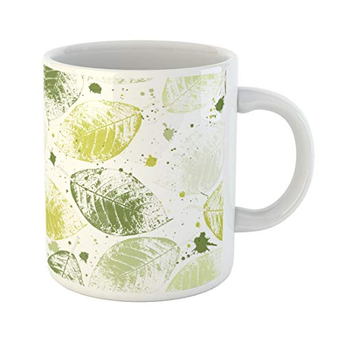 Semtomn Funny Coffee Mug Leaf Seamless Wallpaper with Green Leaves and Blots Spring Background 11 Oz Ceramic Coffee Mugs Tea Cup Best Gift Or Souvenir