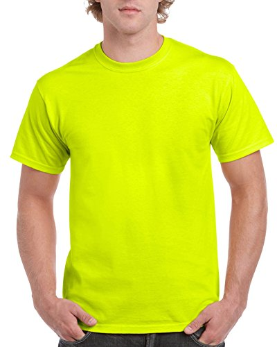Gildan Men's Ultra Cotton Tee Extended Sizes, Safety Green, XX-Large - Adult Ultra Cotton Pocket