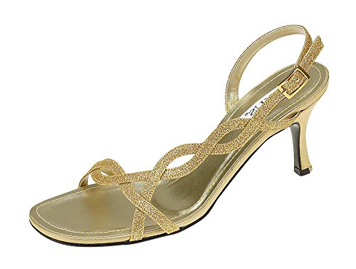 Ladies Evening Sandal with Glitter Finish on Straps. Gold LRBRK