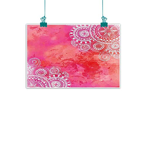 Modern Frameless Painting Pink Watercolor Paint Background with White Hand Drawn Doodles Asian Motifs Bedroom Bedside Painting 35