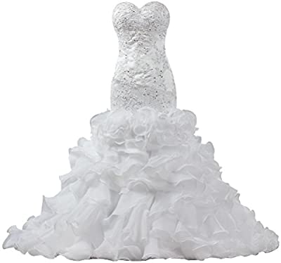 ANTS Women's Strapless Ruffles Wedding Dresses Mermaid Bridal Gowns