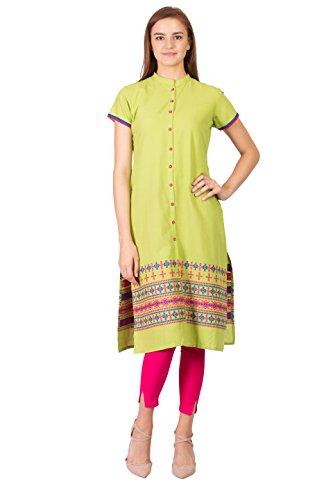 SABHYATA Women Kurta Designer Ethnic Long Dress Casual Tunic Kurti for Women Ladies Partywear Material 100% Pure Cotton Chinese Collar Large P.Green by SABHYATA