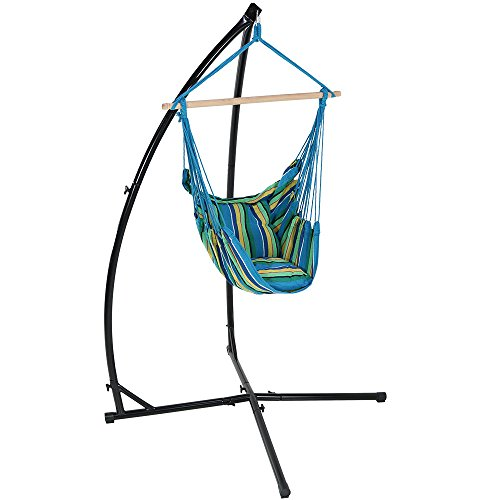 Sunnydaze Hanging Hammock Chair Swing and X-Stand Set, Ocean Breeze, for Indoor or Outdoor Use, Max Weight: 250 pounds, Includes 2 Seat (Hammocks Cushioned Single Swing)