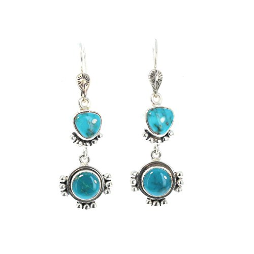 Fox Turquoise Earrings Sterling Southwest Style Teal - Earrings Fox Turquoise