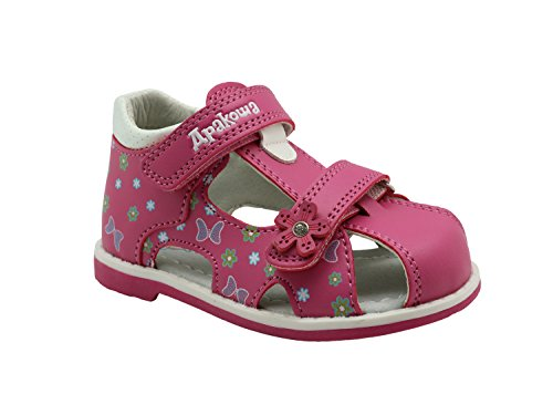 Apakowa Boy's and Girl's Double Adjustable Strap Closed-Toe Sandals (Toddler) Red -