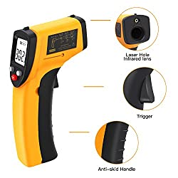 Digital Infrared Thermometer?Rixfit Laser Temperature Gun Non-Contact -50°C to 380°C(-58°F to 716°F) with LCD Display