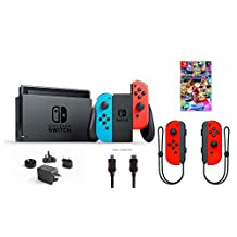 Nintendo Switch 6 items Bundle:Nintendo Switch 32GB Console Neon Red and Blue Joy-con,128GB Micro SD Card,Nintendo Wireless Controllers Neon Red,Mario Kart 8 Deluxe,Mytrix HDMI (US Version, Imported)