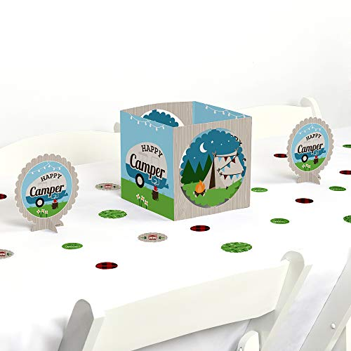 Big Dot of Happiness Happy Camper - Camping Baby Shower or Birthday Party Centerpiece & Table Decoration Kit