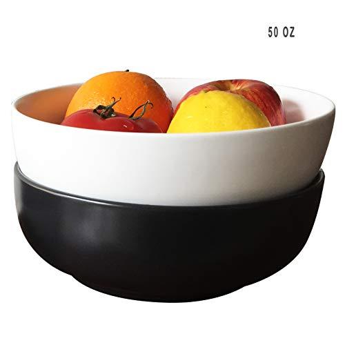 Matte Porcelain Serving Bowls - Salad/Pasta Bowl Set, 1 Piece White & 1 Piece Black, 1-1/3 Quart (50oz)