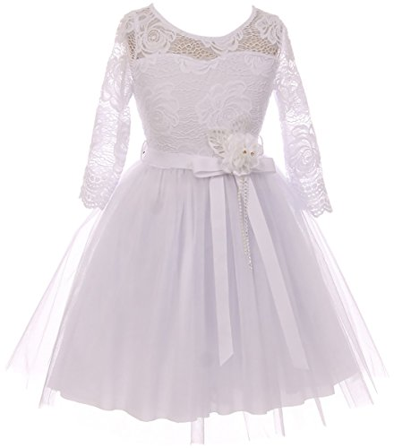 Big Girl Floral Lace Top Tulle Communion Easter Flower Girl Dress USA White 10 JKS 2098 ()
