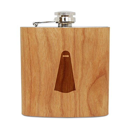 WOODEN ACCESSORIES COMPANY Cherry Wood Flask With Stainless Steel Body - Laser Engraved Flask With Veil Design - 6 Oz Wood Hip Flask Handmade In USA ()