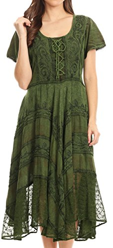 (Sakkas 15323 - Mila Long Corset Embroidered Cap Sleeve Dress with Adjustable Waist - Green -)