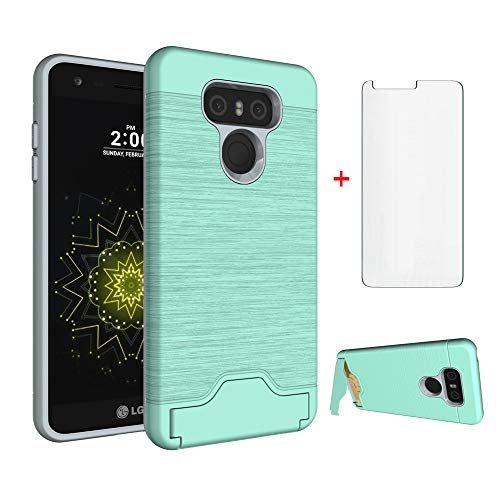 972e857852c Phone Case for LG G6 with Tempered Glass Screen Protector Cover Credit Card  Holder Wallet Stand