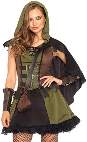 Leg Avenue 85281 - Darling Robin Hood Damenkostüm-Set, Olive und schwarz