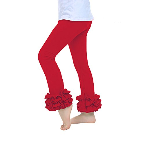 Kaiya Angel Little Girl's Ruffle Leggings Toddler Girl Ruffle Pants,Red,100(2-3 Year)