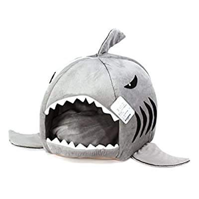 Grey Shark Bed for Small Cat Dog Cave Bed Removable Cushion,waterproof Bottom Most Lovely Pet House Gift for Pet