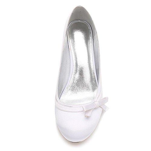 L@YC Damen Braut Hochzeit Satin Pumps Damen Slip On Prom Brautjungfer Pumps Schuhe Größe 17061-38 Red