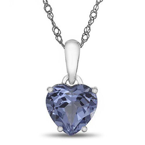 Finejewelers 10k White Gold 7mm Heart Shaped Simulated Aquamarine Pendant Necklace (Necklace Spinel White)