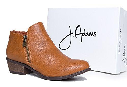 J. Adams Låg Klack Västra Blixtlås Fotled Toffeln A- Cowboy Spetsig Tå Staplade Häl A- Bekväm Stängd Tå Boot A- Jed Med Kamel
